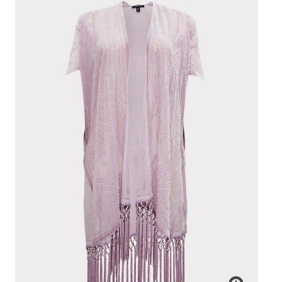 TORRID -  1/2X Purple Floral Velvet Kimono